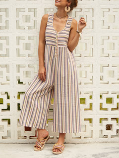 Chic Print Striped Loose Wide Legs Button V Neck Jumpsuit