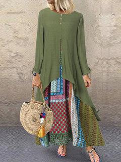 العرقية طباعة المرقعة خمر Plus حجم فستان ماكسي