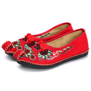 Knot Hollow Out Broderie Vintage Flat Loafers