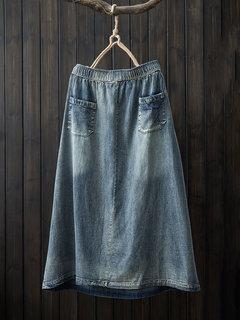 Винтаж Мультипликационная вышитая эластичная джинсовая юбка с карманами