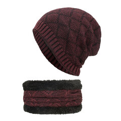 Mens Wool Velvet Knitted Hat Scarf Winter Vintage Vogue Ear Neck Warm Scarf Beanie Set