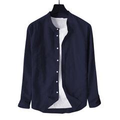 Mens Cotton Classic Kurze einfarbige atmungsaktive Langarm Stehkragen Casual Fashion Shirt