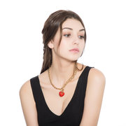 Statement Multicolor Rhinestone Heart Pendant Thick Chain Sweater Necklace Christmas Gift for Her