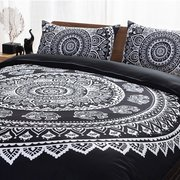 3PCS Indiano Mandala Hippie poliestere King Size Bedding Pillowcases Set di coprire la trapunta