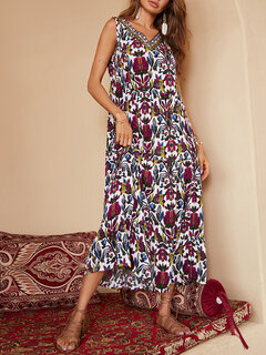 Bohemian Folk Print V-neck Sleeveless Plus Size Maxi Dress