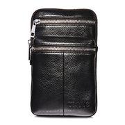 Genuine Leather 7 Inch Phone Bag Casual Business Waist Bag Multi-functional Crossbody Bag