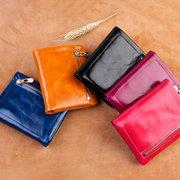 Women Genuine Leather Oil Wax Bifold 5 Card Slots Wallet Vintage Coin Purse