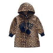 Leopard Hooded Girls Long Sleeve Sweatshirt Dress For 4Y-15Y