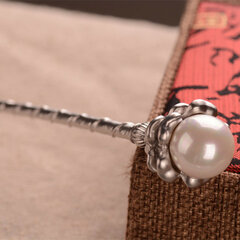 Ethnic Flower Hairpins Vintage Silver Gold Color Pearl Charm Hair Accessories Headwear for Women