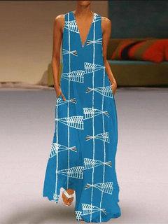 Stampa pesce senza maniche V Collo Casual Maxi Dress
