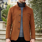 Fashion Busienss Mid Long Woolen Stand Collar Trench Coats for Men