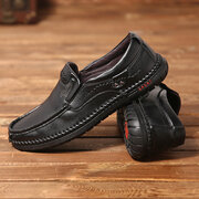 Menico Men Hand Stitching Soft Sole Slip On Leather Loafers