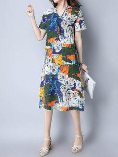 Vintage Случайные печати с коротким рукавом V-образным вырезом платья для женщин