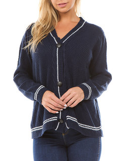 Solid Color V-neck Single-breasted Sweater Cardigans