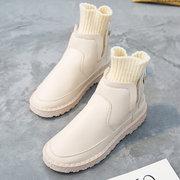 النساء الشتاء لبس لون الصلبة الحياكة الربط الأحذية المسطحة