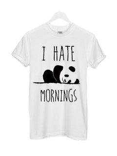 Panda Letters Printed Round Neck Pullover T-Shirt