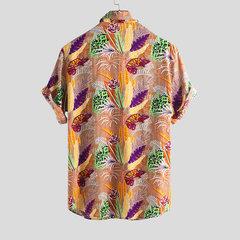 Floral havaiano do feriado dos homens impresso gira para baixo camisas longas da luva curto do colar