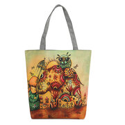 Women Canvas Elephant Print Shoulder Bag Casual Tote Bag