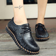 Stiching Lace Up Casual Flat Shoes For Women