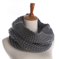Women Solid Knitted Collar Scarves Warm Neck Scarves Neck Warmer Circle Outdoors Scarf Windproof