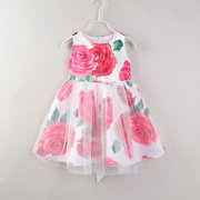 Rose Pattern Toddler Girls Kids Sleeveless Casual Summer Dresses For 2Y-9Y