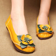 Vintage Leather Flower Slip On Casual Flat Shoes
