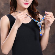 Retro Blue Agate Necklace Long-Style Sweater Necklace For Women