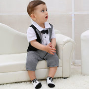 Formal Suit Style Baby Boy Romper with Tie Newborn Baby Boys Clothing Baby Jumpsuit 0-36 Mont