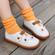 Girls Lovely Flowers Decor Hook Loop Soft Sole Comfy Flat Shoes