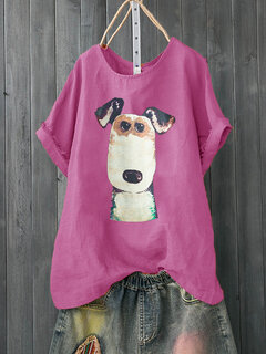 Cartoon Dog Print Kurzarm Casual T-Shirt für Damen