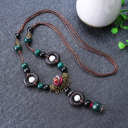 Ethnic Handmade Tibet Ceramic Beads Necklace Vintage Jewelry Tassel Long Necklaces Gift for Her