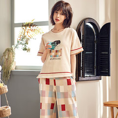 Short-sleeved Cropped Trousers Cotton Silk Cartoon Thin Section Two-piece Pajamas