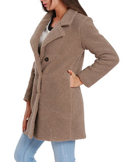 Women Solid Color Fleece Double Breasted Trench Coat