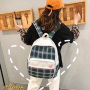 Fashion Canvas Backpack Simple Plaid Student Bag Wild College Wind Large Capacity Backpack