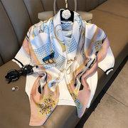 Womens Шаблон дышащий шелковый квадратный шарф профессиональный повседневный шарф