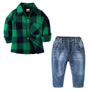 Boys Formal Clothes Toddler Plaid Shirt + Long Jeans Sets For 1Y-7Y