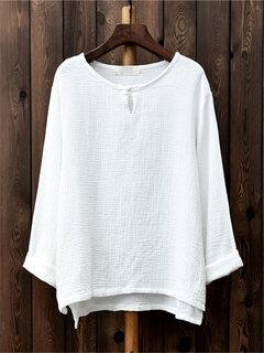 Cotton Linen Retro Long-sleeved O-neck T-shirt