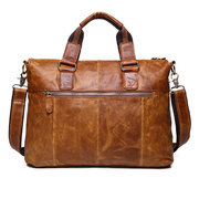 Ekphero Genuine Leather Crossbody Bag Retro Dual-Use Big Capacity Handbag For Men