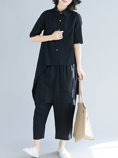 Casual Irregular Hem Solid Color Turndown Collar Two-Piece Suit