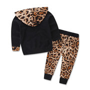2pcs Leopard Printed Girls Clothing Set Hoodies+Pants For 0-24M