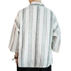 Plus la taille de style chinois manches moitié grandes poches de coton rayures chemises de lin en vrac pour les hommes