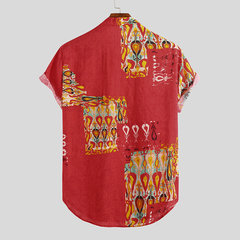 Mens Summer Ethnic Printed Chest Pocket Turn Down Collar Short Sleeve Casual Shirts