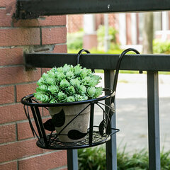 Iron Art Hanging Baskets Flower Pot Holder for Patio Balcony Porch Fence