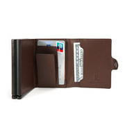 RFID Multi-function Genuine Leather Metal Card Package Business Card Box Anti-magnetic Wallet