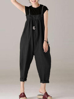 Women Strappy Casual Wide Legs Bib Cargo Dungaree Jumpsuit