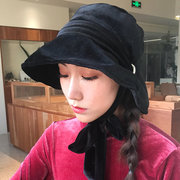 Women Gold Velvet Dual-use Warm Fishing Hat Straps Basin Foldable Cap Outdoor Casual Windproof Hat