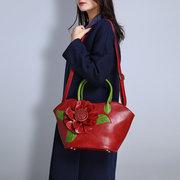 Brenice Sac à Main Style National avec Rose Décorative Fantaisie en Cuir PU pour Femme