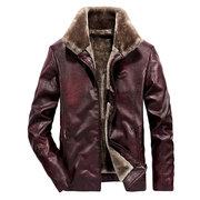 Men's PU Coat Lapel Collar Fleece Lining Leather Woolen Jacket