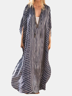 Irregular Stripe Loose Maxi Dress For Women