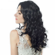 Synthetic Wigs Small Wavy Hair Wigs Black Medium-Long Artificial Hair Fashion Rose Net Wigs 50cm